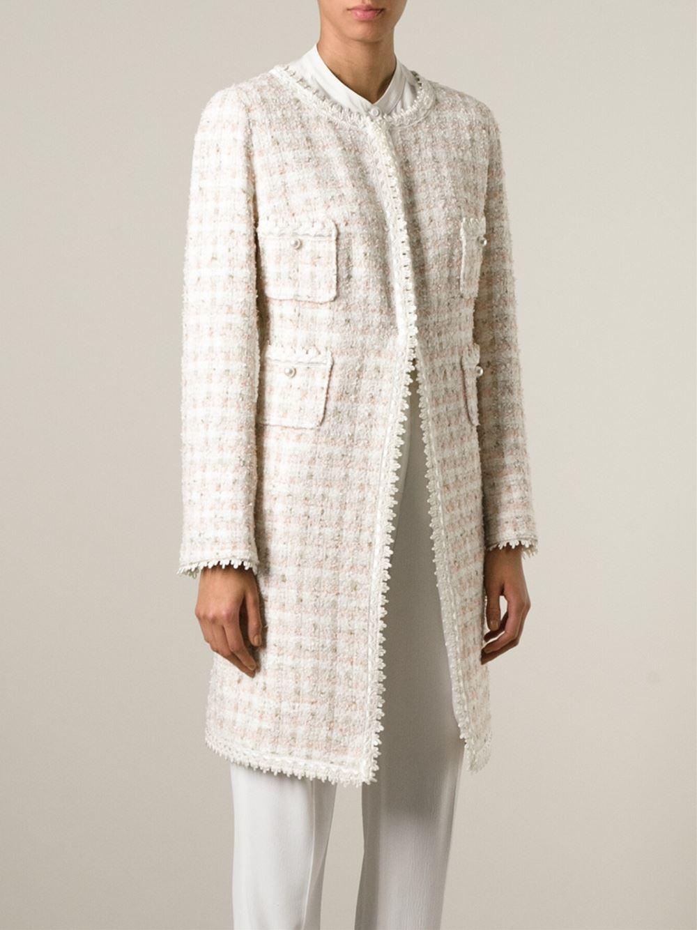 0992e3d6aac94 Lyst - Edward Achour Paris Tweed Pocket Jacket in Natural