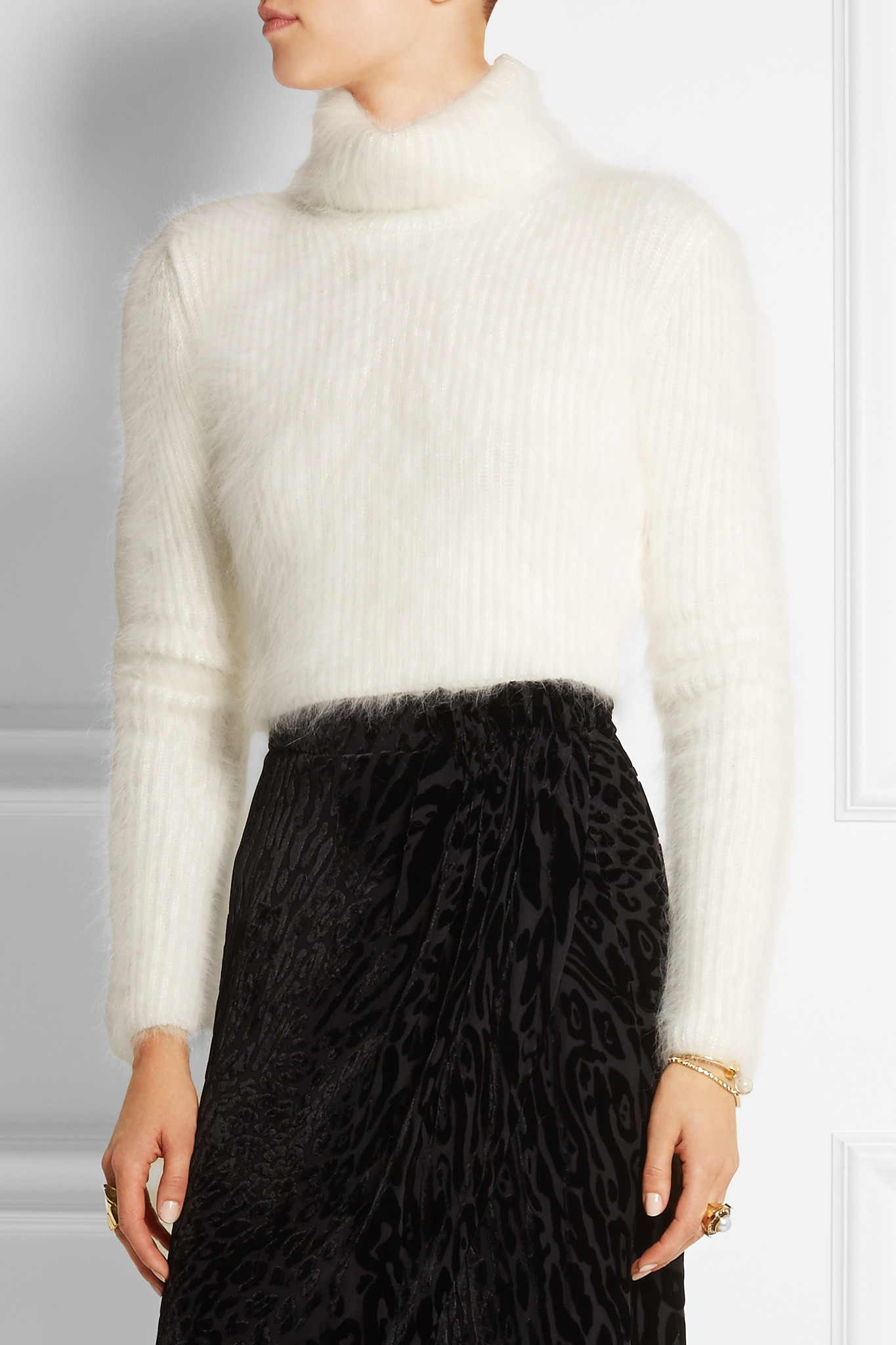 Roberto cavalli Cropped Ribbed Angora-blend Turtleneck Sweater in ...
