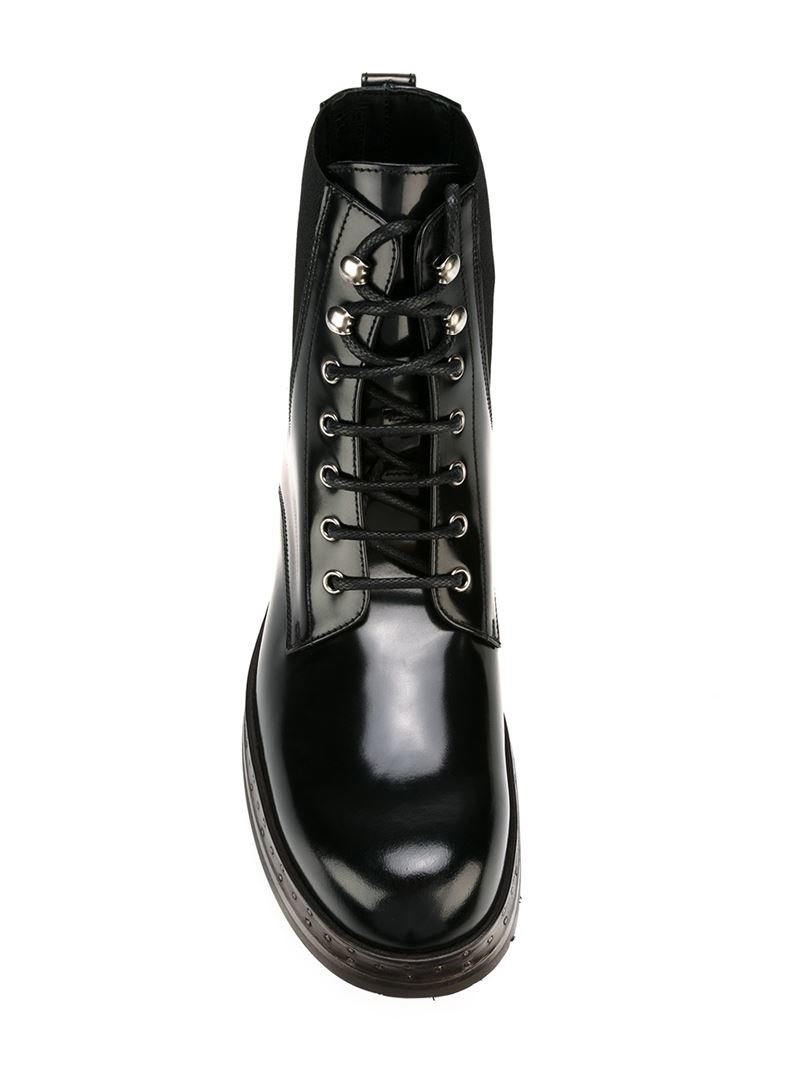 Lyst Dolce Amp Gabbana Lace Up Boots In Black For Men