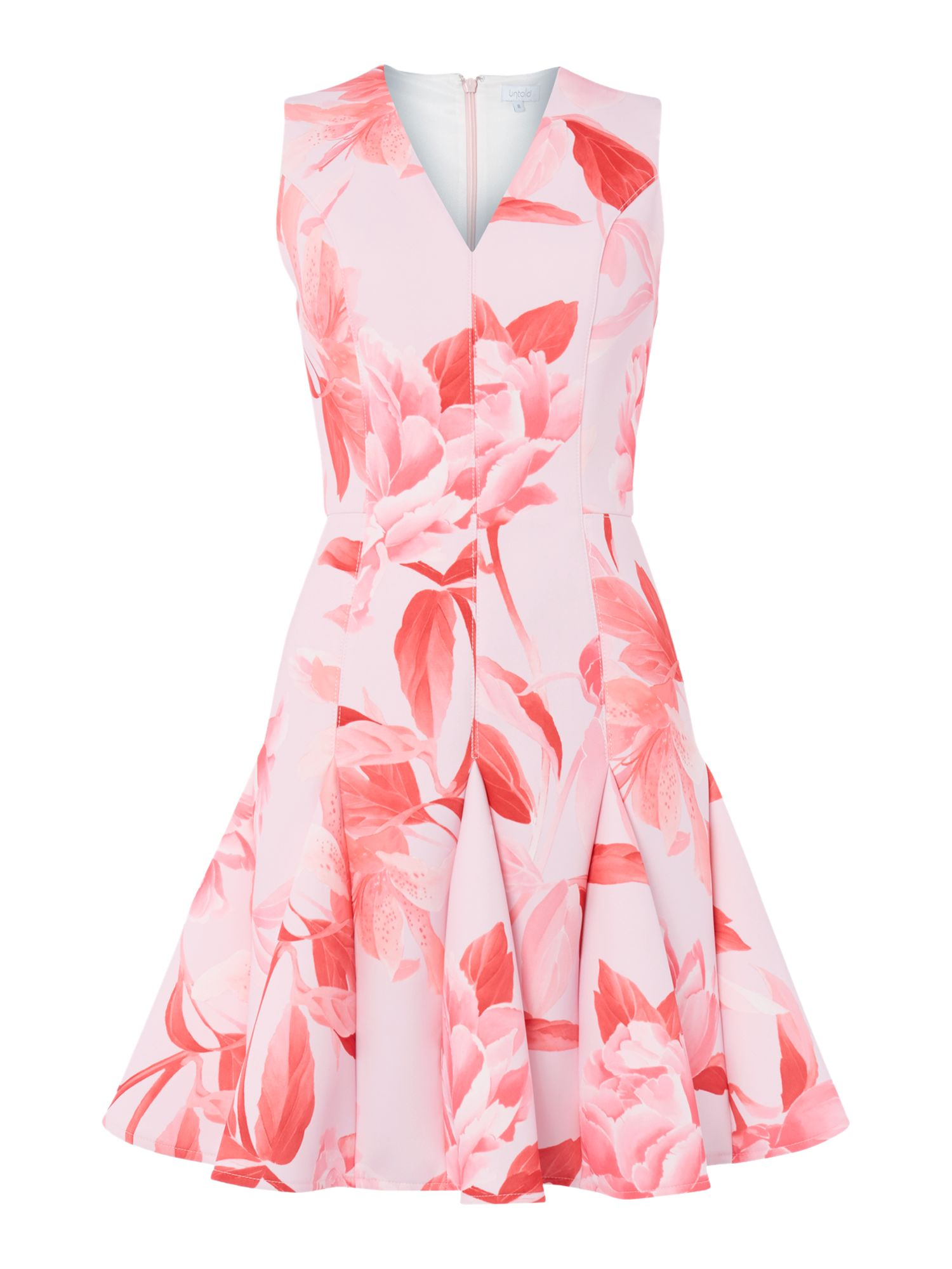 Untold V Neck Fit And Flare Rose Print Dress in Pink | Lyst