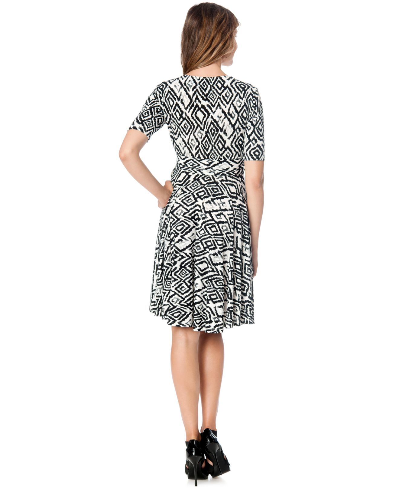 Donna Morgan Maternity Printed Faux Wrap Dress In Black Lyst
