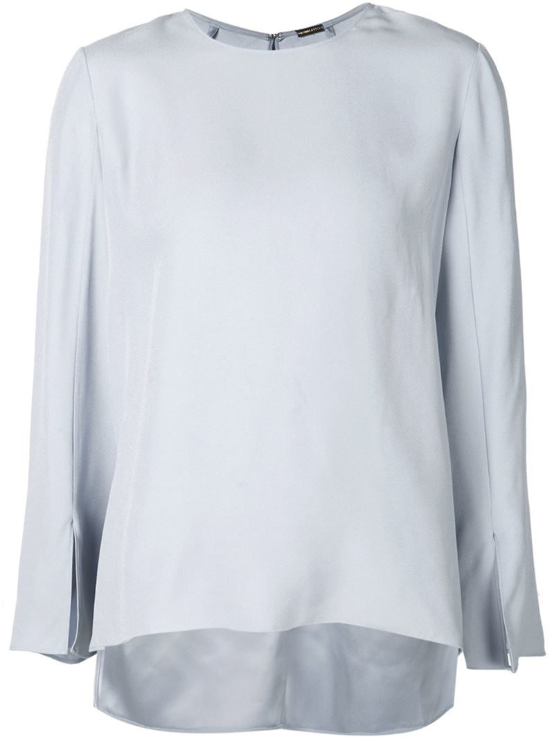Lyst adam lippes slit cuffs blouse in blue for Adam lippes women s long sleeve vee t shirt