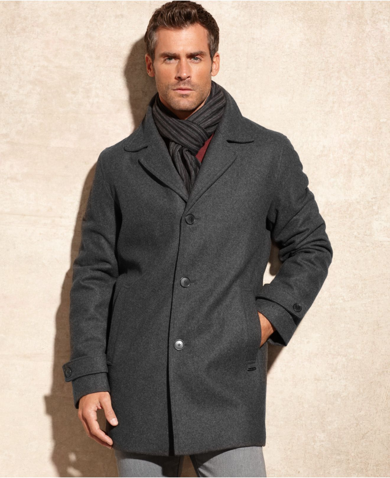 Calvin klein Melton Wool-Blend Car Coat With Scarf in Gray for Men