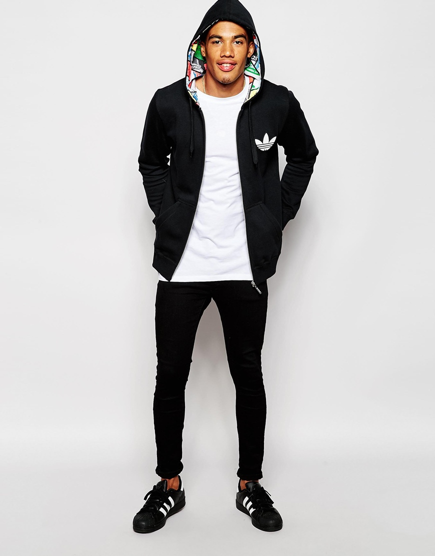 Adidas Originals Hoodie With Label Print Lining Ab7690 in Black for ... 130244eb83