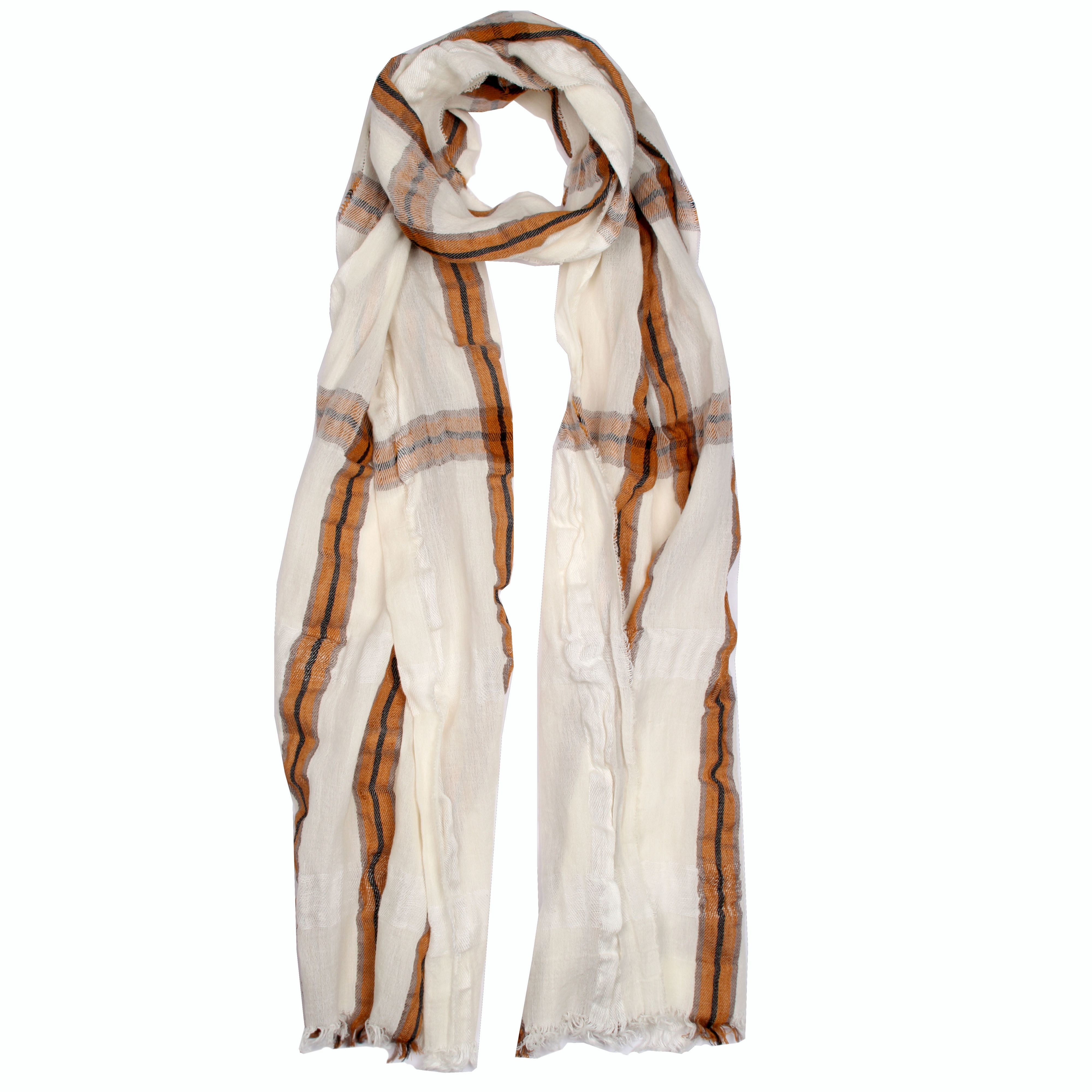 dents classic check woven scarf in white lyst