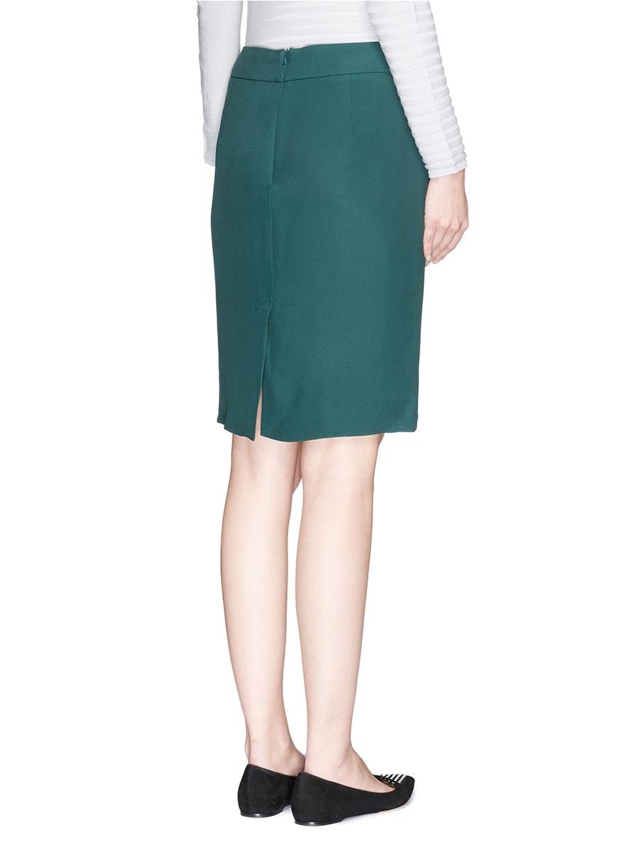 armani cady pencil skirt in green lyst