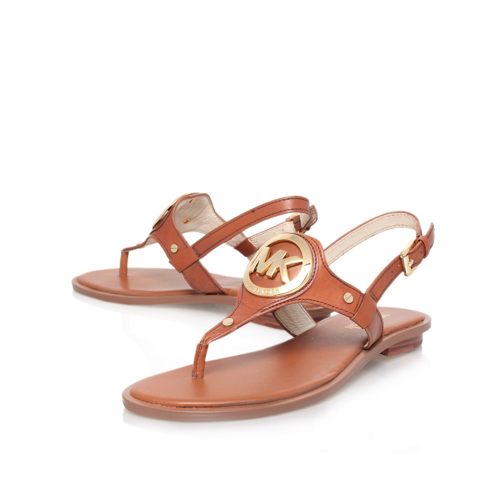 48ca1a27d50 MICHAEL Michael Kors Lee Leather Flat T-strap Sandal in Brown - Lyst