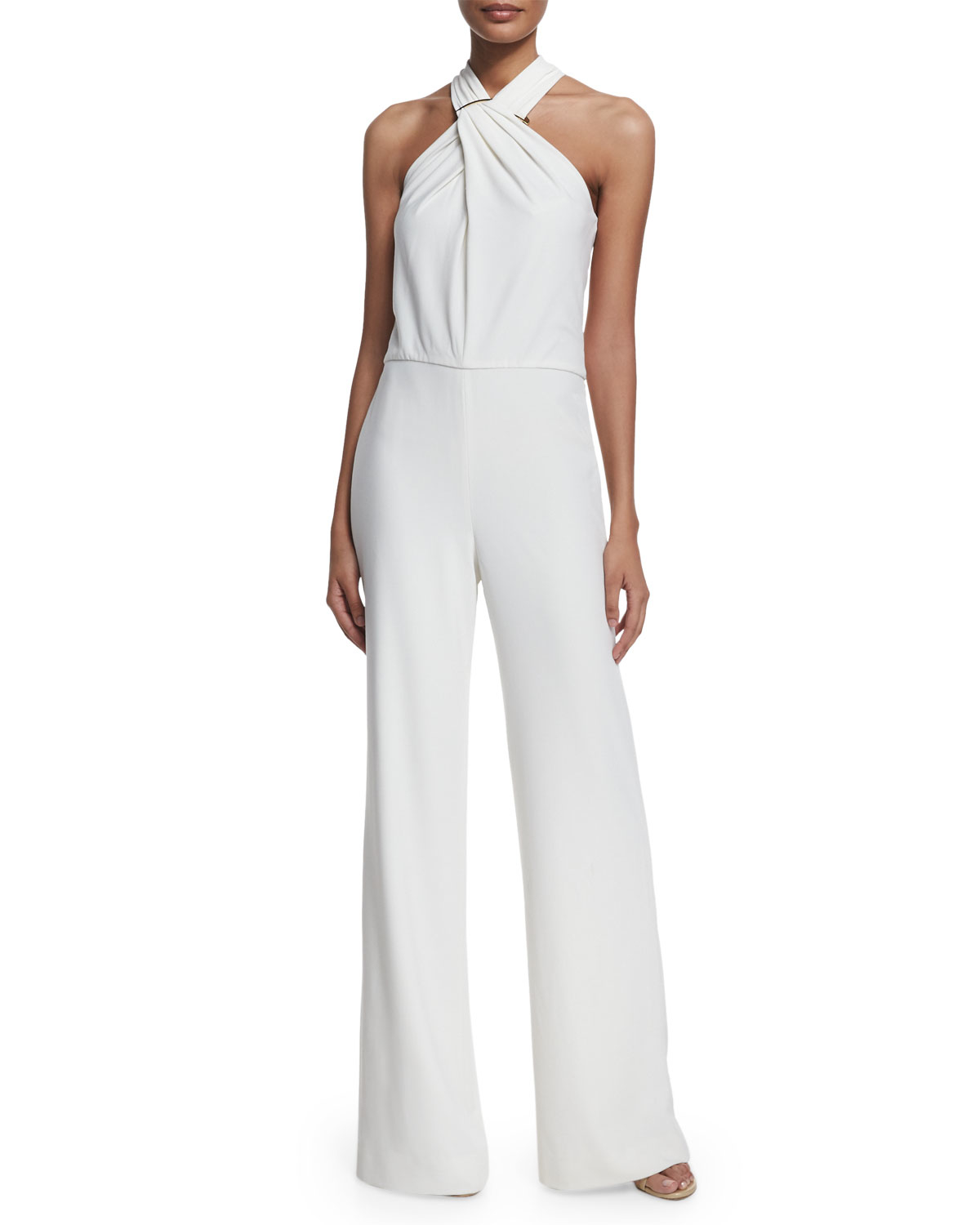 halston heritage bone crisscross halter wide leg jumpsuit white product 1 379172951 normal