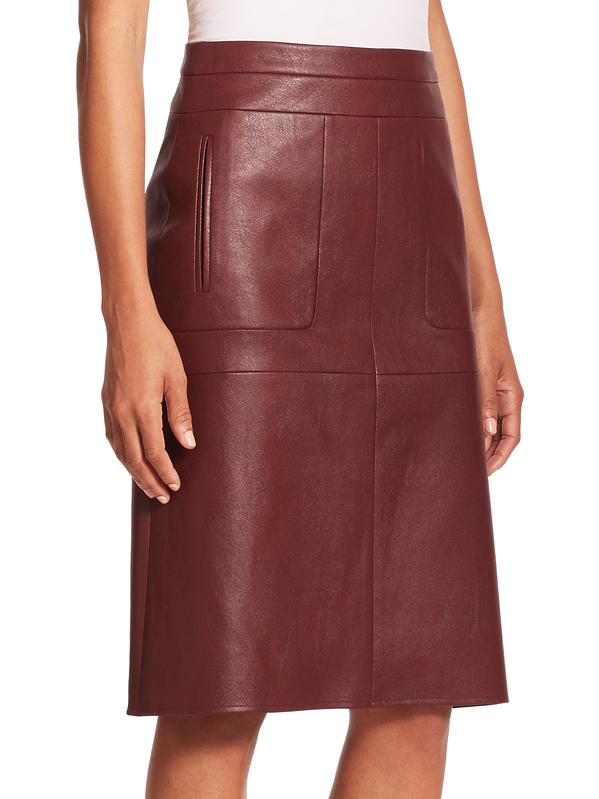 Lyst Bcbgmaxazria Margeaux Faux Leather Midi Skirt In Purple