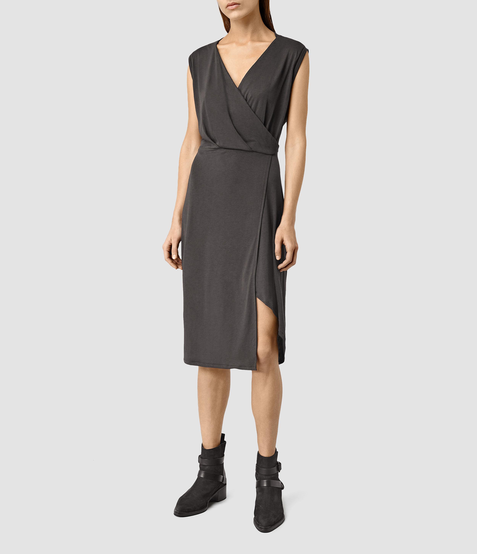 Lyst Allsaints Amalia Dress In Gray
