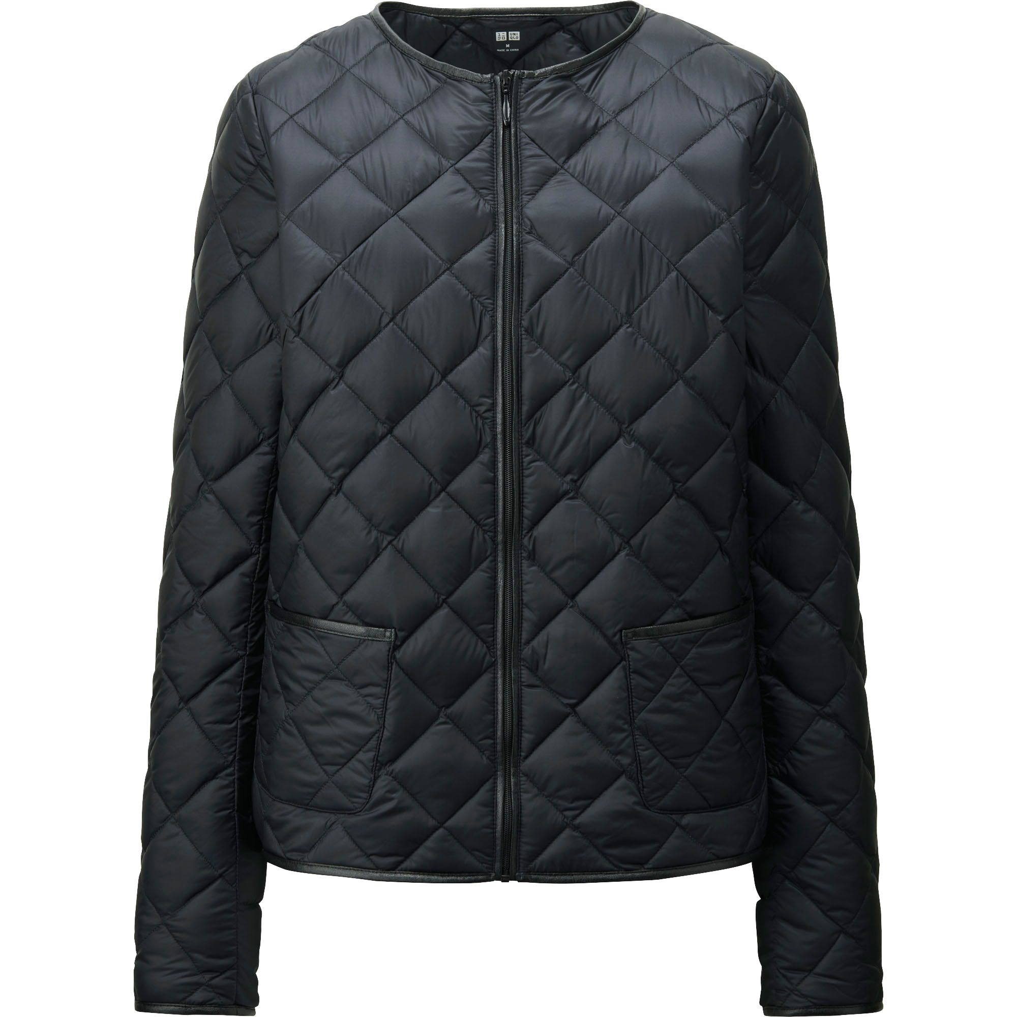 lyst uniqlo women ultra light down collarless jacket in. Black Bedroom Furniture Sets. Home Design Ideas