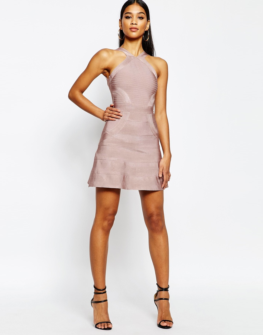Lyst - Wow Couture Bandage Skater Dress in Pink 6e12cb5eb218