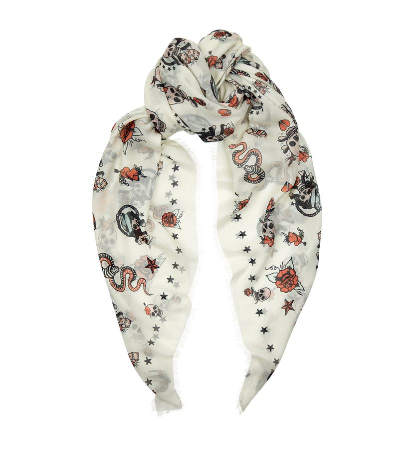 mcqueen skull scarf in white for lyst