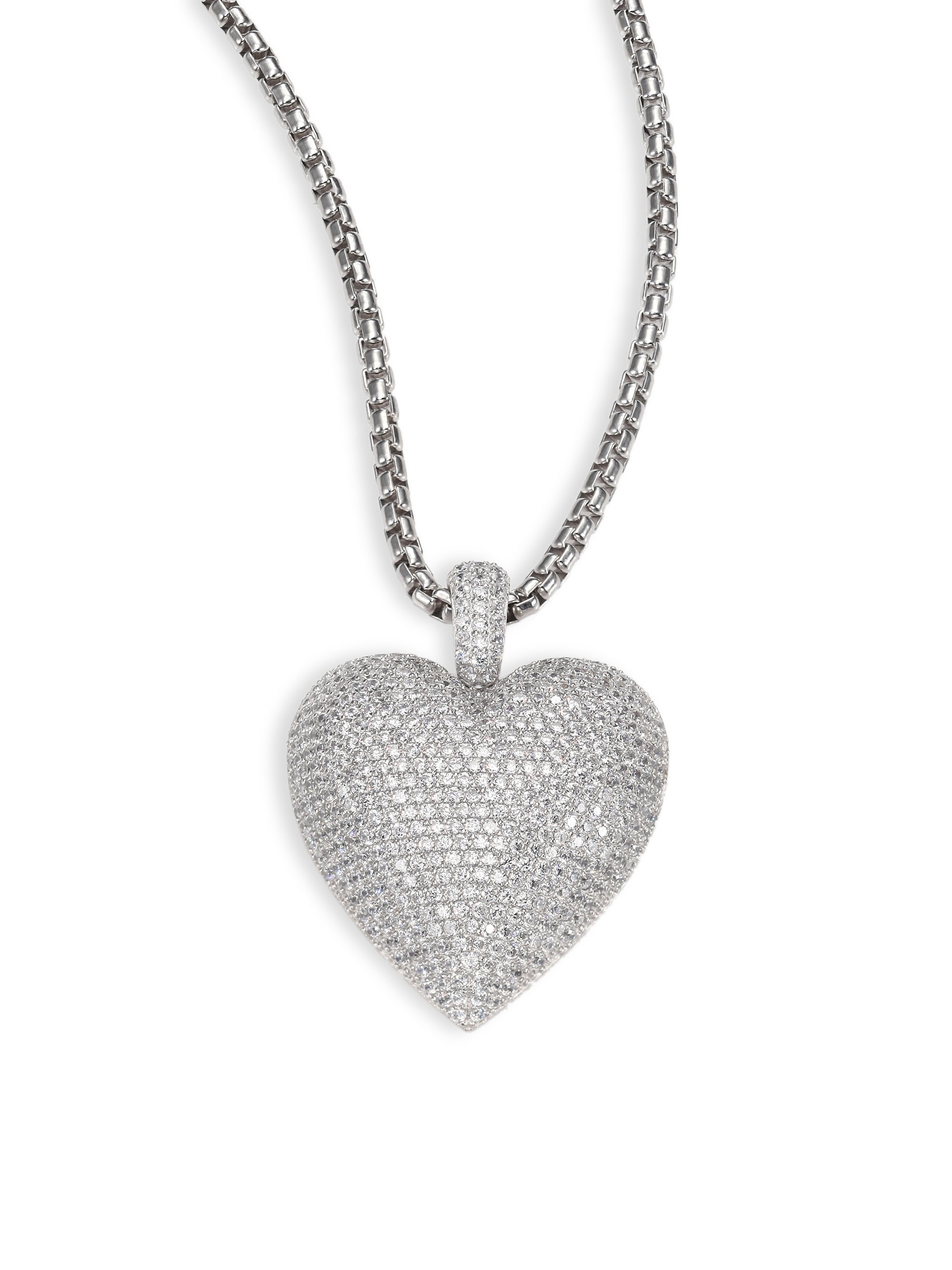 Lyst adriana orsini large pave heart pendant necklace in metallic gallery mozeypictures Choice Image