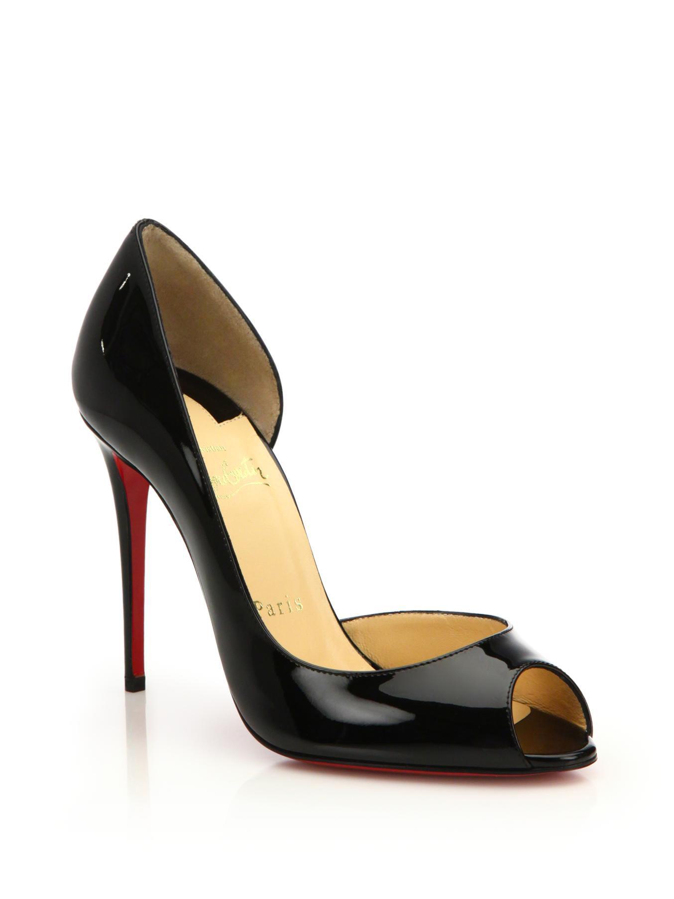 christian louboutin peep-toe wedges Black patent leather corkscrew covered  heels 9e409c2c3791