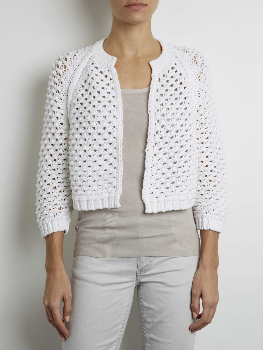 Inhabit Luxe Hand Knit Cropped Cardigan in White Lyst