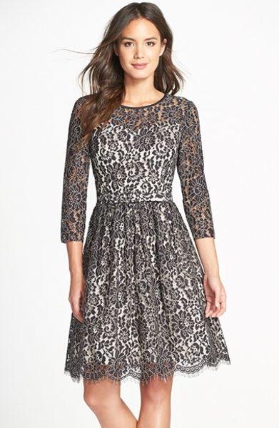 Eliza J Lace Fit Amp Flare Dress In Black Black Ivory Lyst