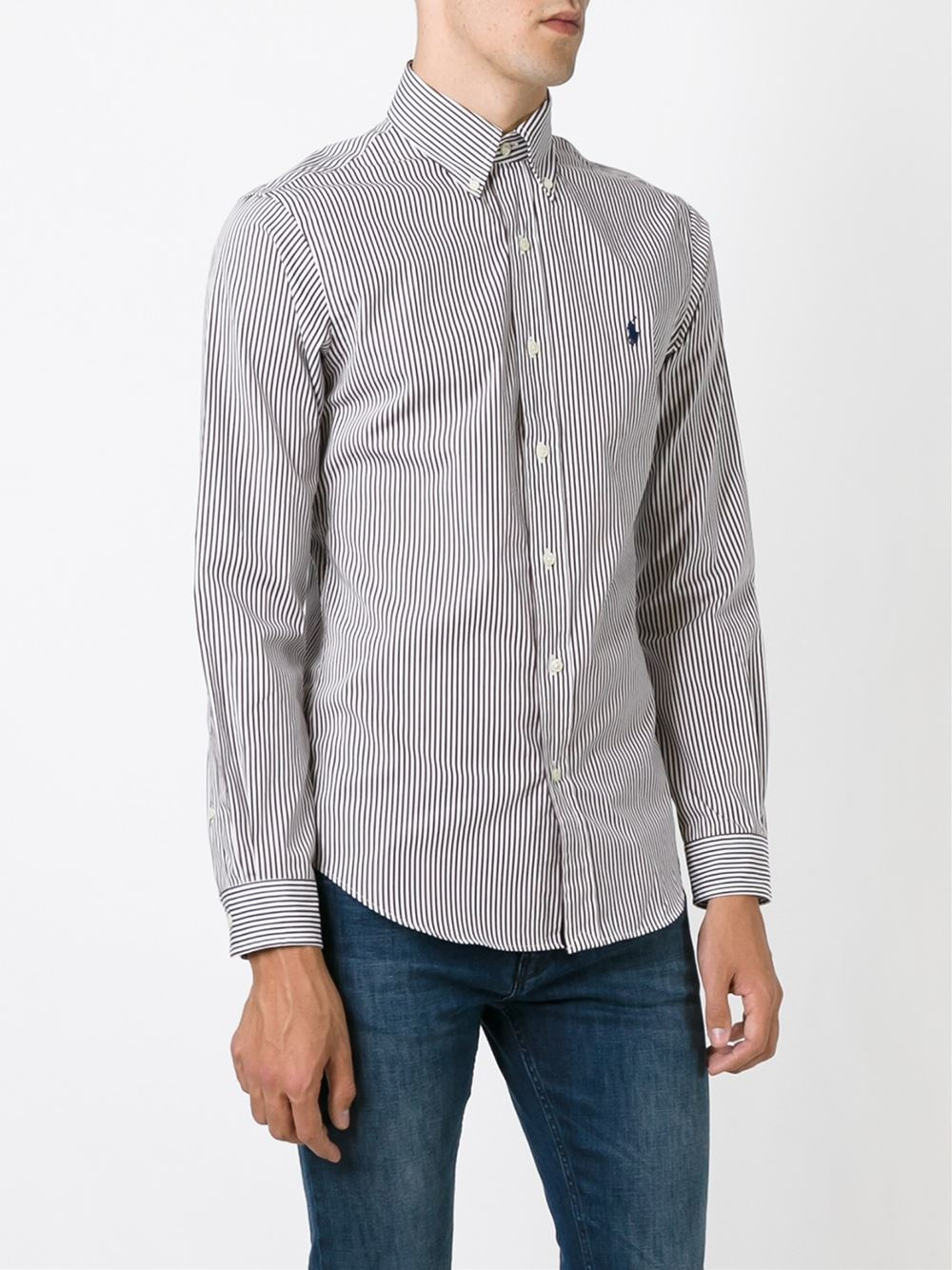 Polo Ralph Lauren Striped Button Down Shirt In Brown For