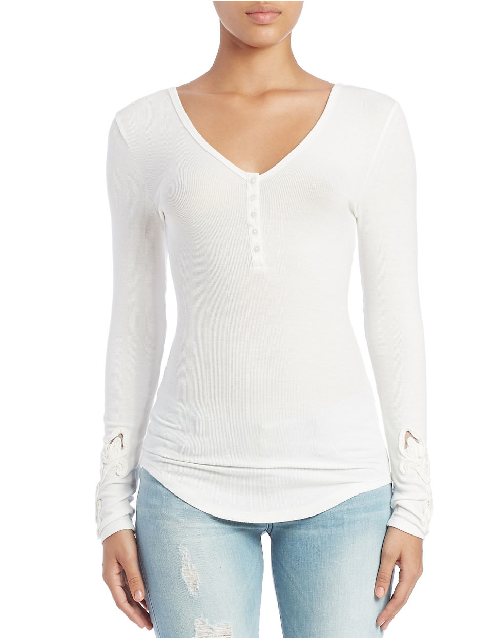 Lyst Guess Long Sleeve Henley In White