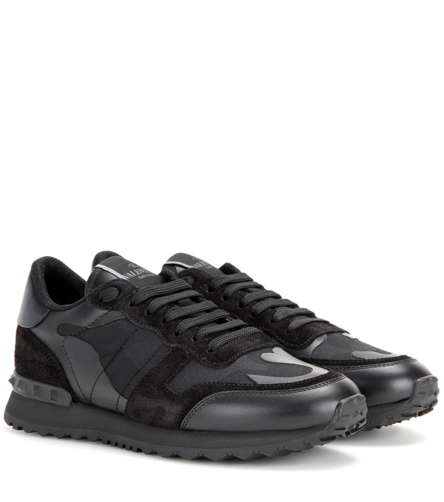 af91e9defbfbd Valentino Rockrunner Camouflage Leather Sneakers in Black - Lyst