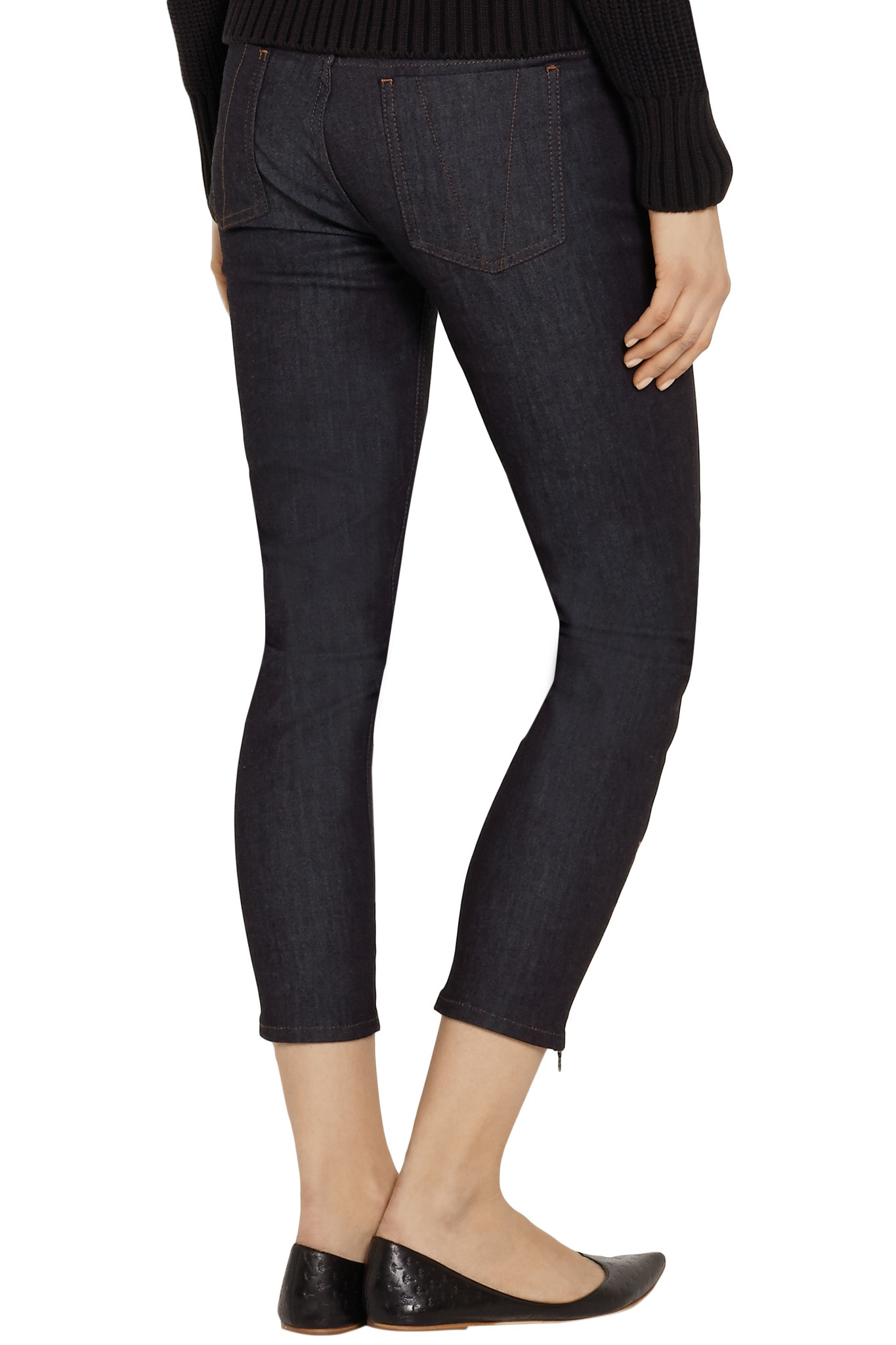 lyst victoria beckham cropped mid rise skinny jeans in blue. Black Bedroom Furniture Sets. Home Design Ideas