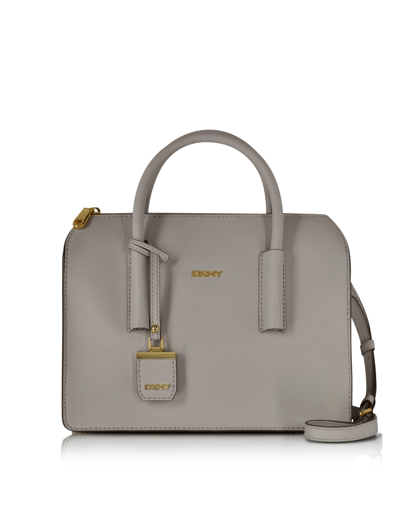 Dkny Bryant Park Grey Saffiano Leather Satchel in Gray | Lyst