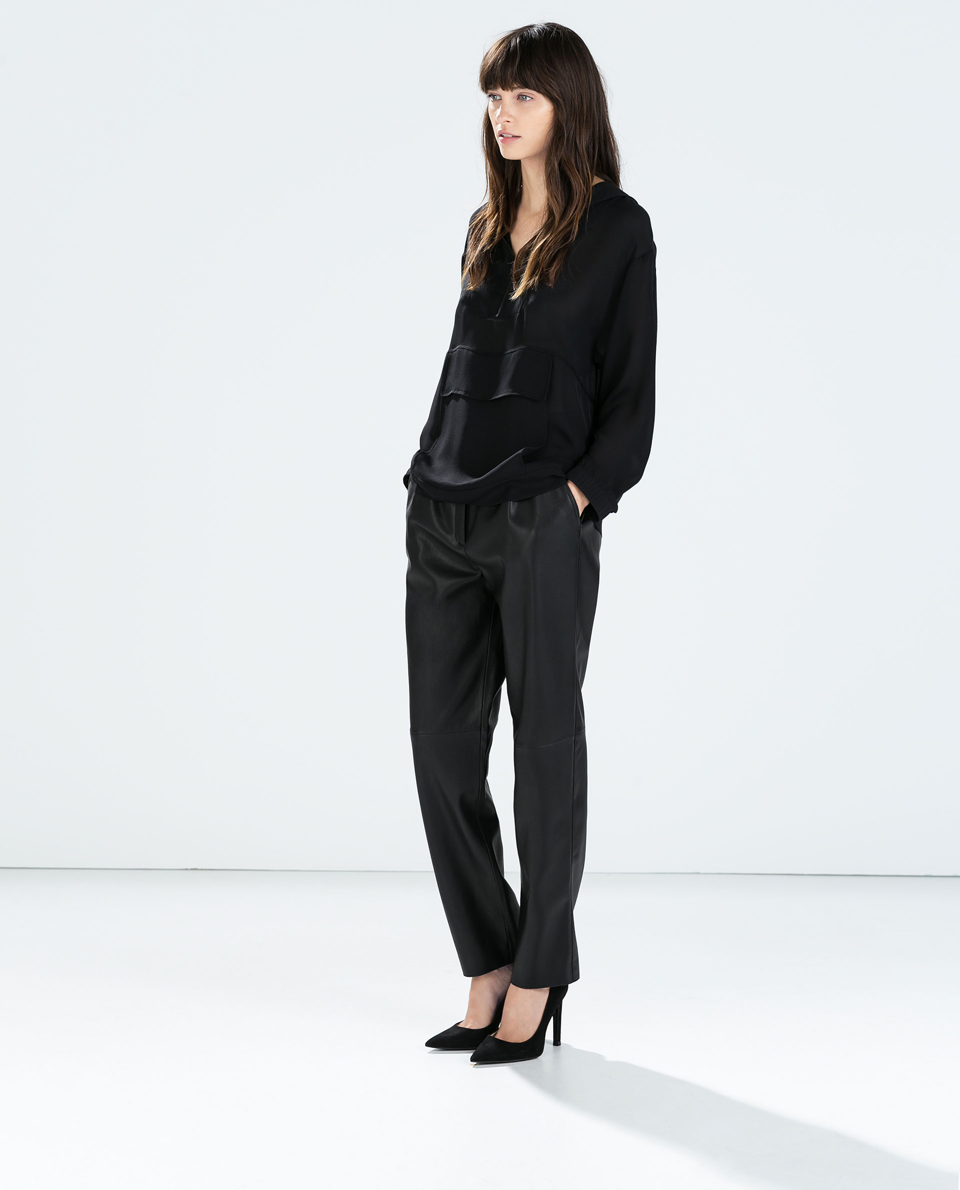 New ZARA Woman BNWT Authentic Faux Leather Biker Trousers Pants Zips M L