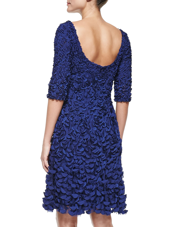 a8975d95cb7 Lyst - THEIA Half-Sleeve Petal Cocktail Dress in Blue