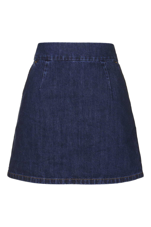 Topshop Moto Indigo Clean A-line Skirt in Blue | Lyst