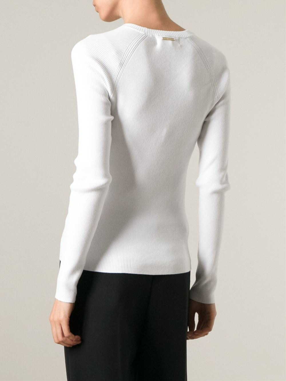 michael michael kors ribbed sweater in white lyst. Black Bedroom Furniture Sets. Home Design Ideas