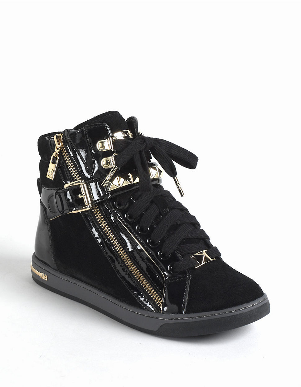 michael michael kors glam studded suede high top sneakers in black lyst. Black Bedroom Furniture Sets. Home Design Ideas