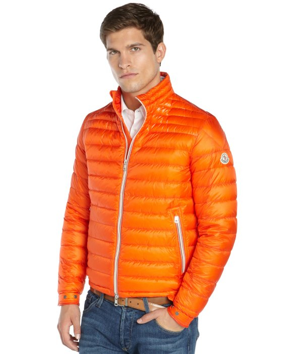 Moncler Orange Quilted Zip Front Daniel Down Jacket In