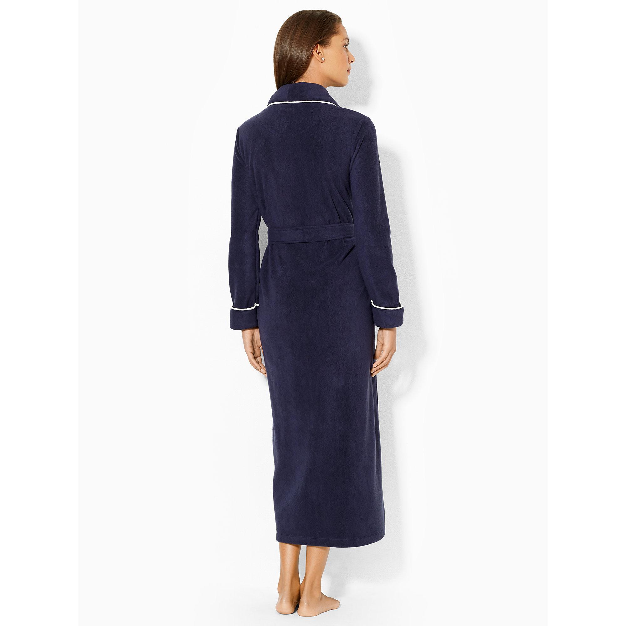 Lauren By Ralph Lauren Long Fleece Shawl Collar Robe In