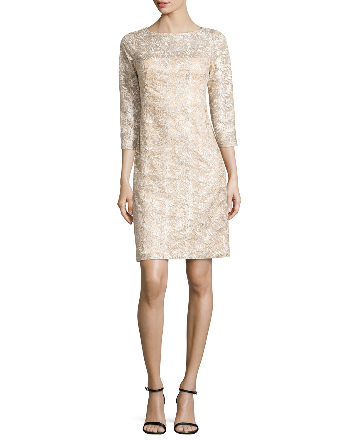 Sue wong 3/4-sleeve Embroidered Sheath Dress in Pink | Lyst