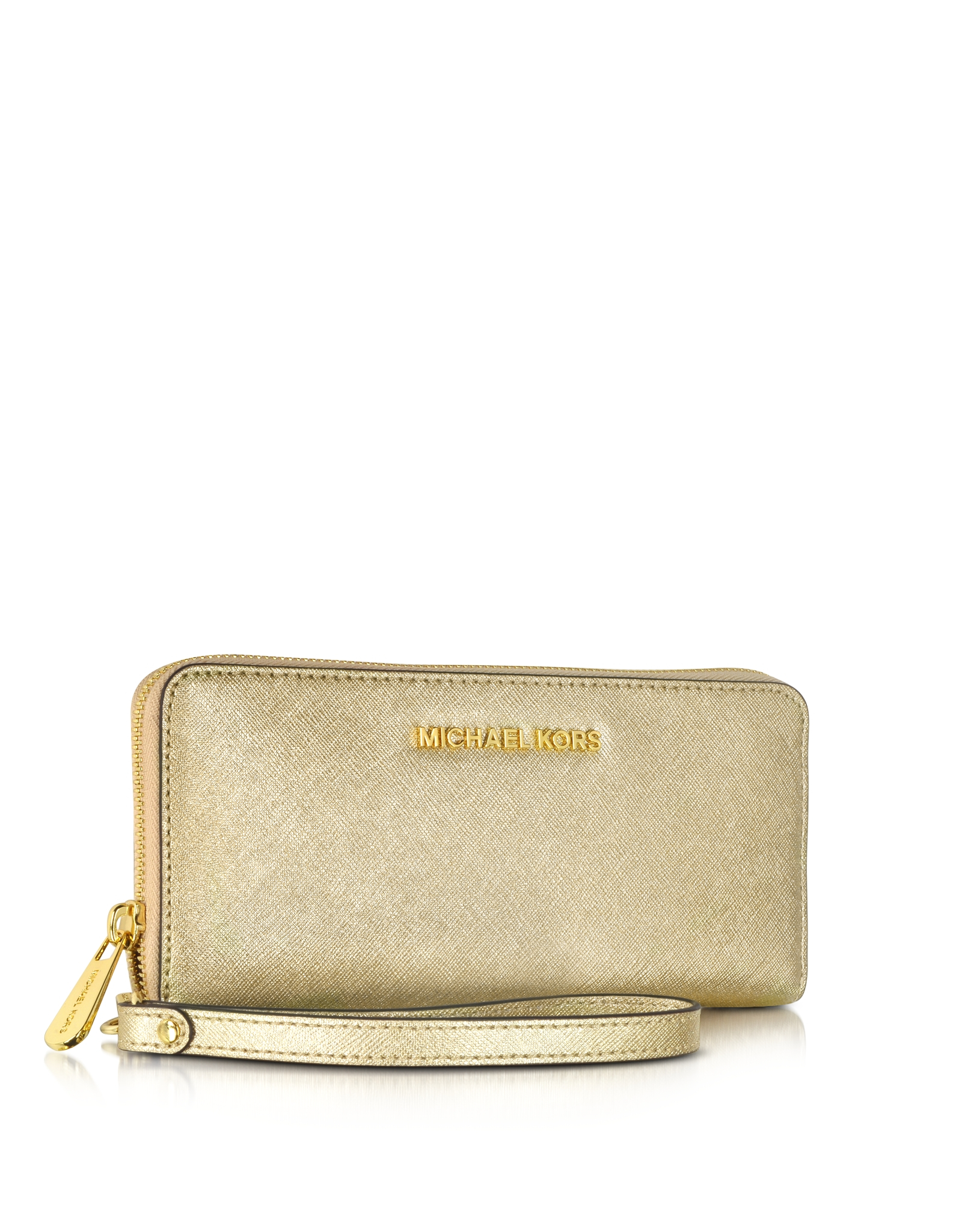 5f465b90dc88 Michael Kors Jet Set Travel Pale Gold Metallic Saffiano Leather ...