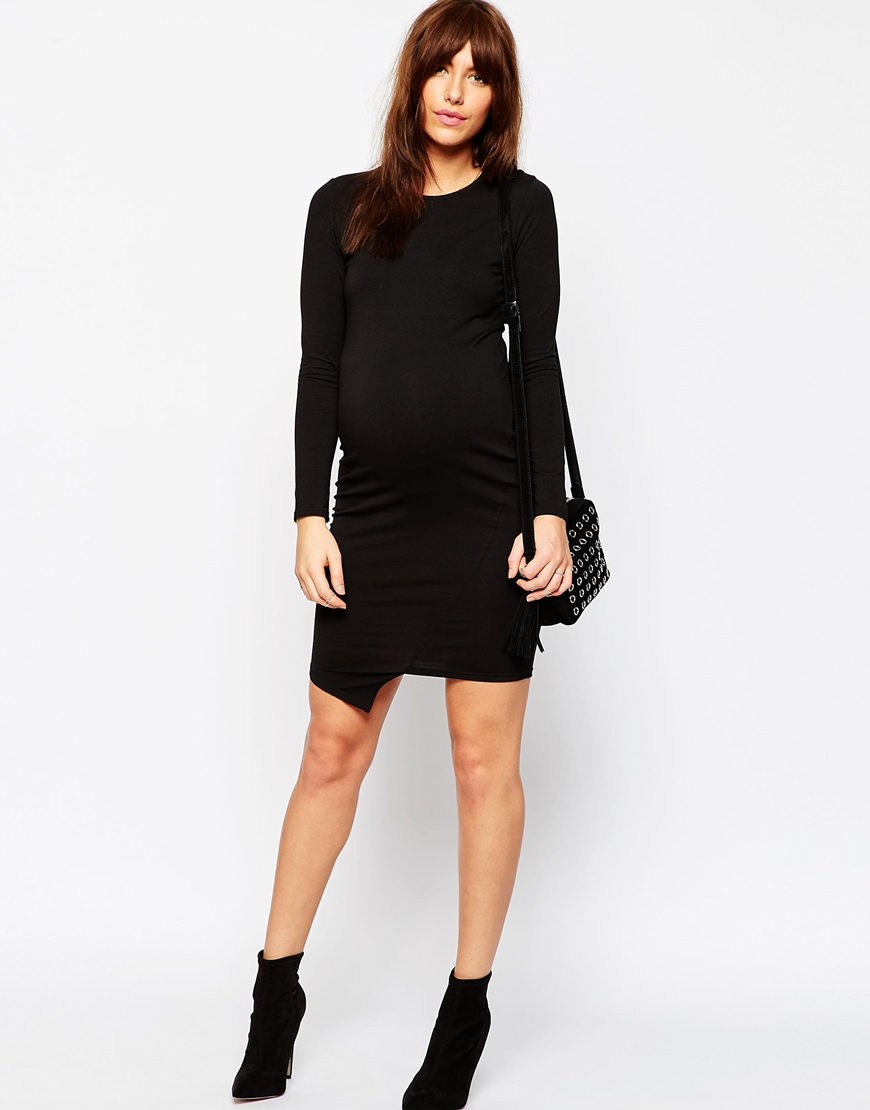 Asos maternity long sleeve asymmetric bodycon dress in black lyst gallery ombrellifo Image collections
