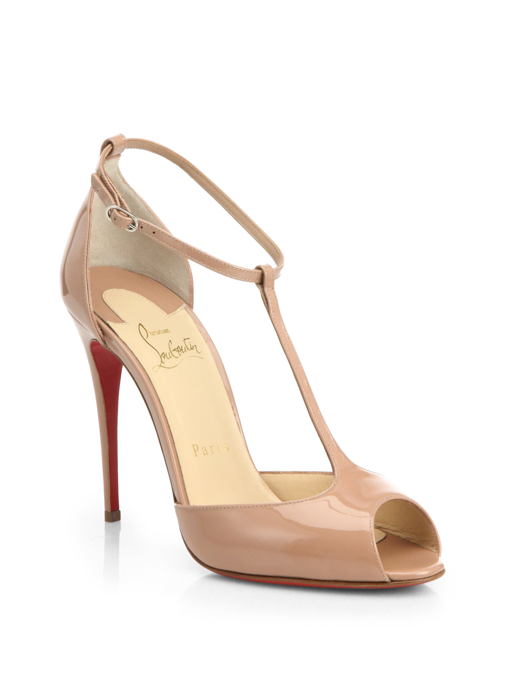 32fb53d3fc2 Lyst - Christian Louboutin Senora Patent Leather T-strap Pumps in ...
