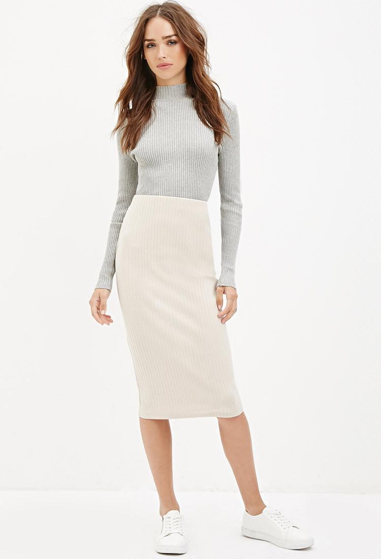 forever 21 ribbed knit midi skirt in white vanilla lyst
