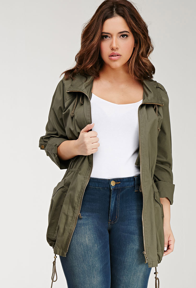 8497d900a44 Forever 21 Plus Size Hooded Utility Jacket in Green - Lyst