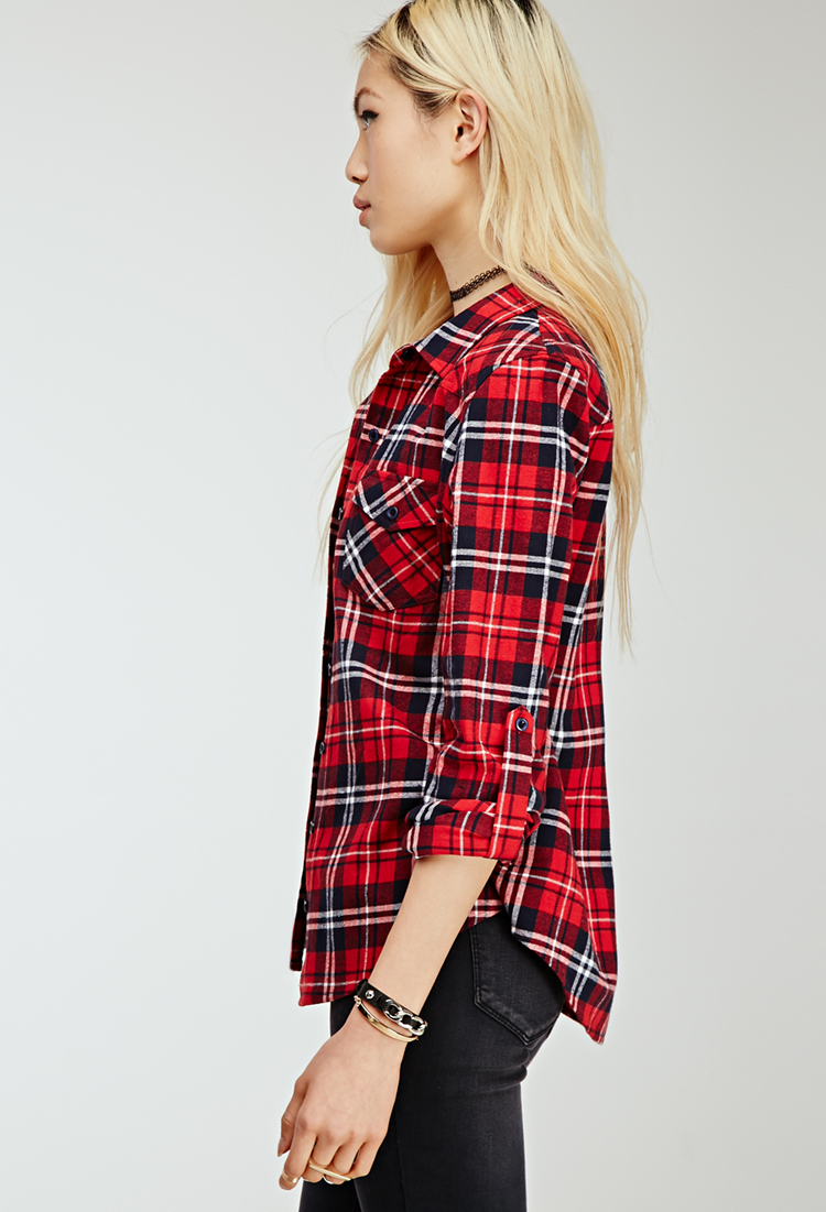Forever 21 tartan plaid flannel shirt in red lyst for Flannel shirts for womens forever 21