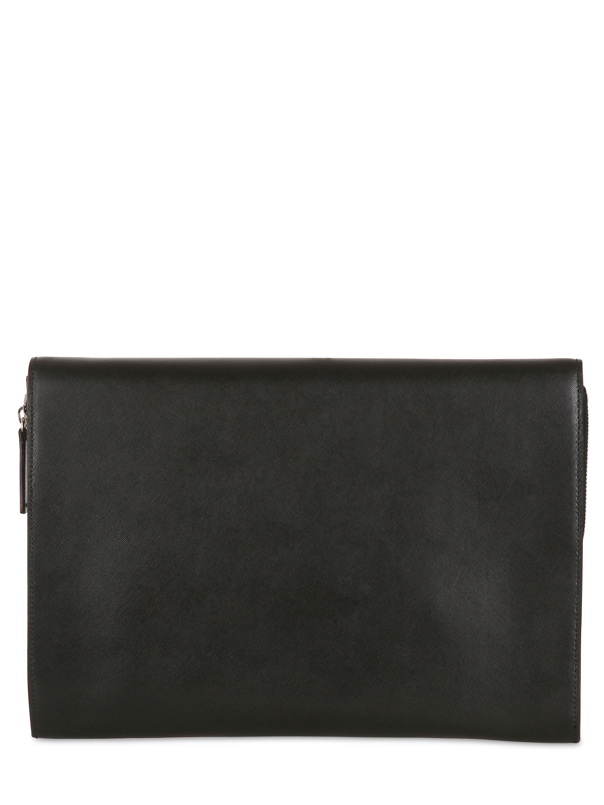 prada diaper bag on sale - Giorgio armani Saffiano Leather Document Holder in Black for Men ...