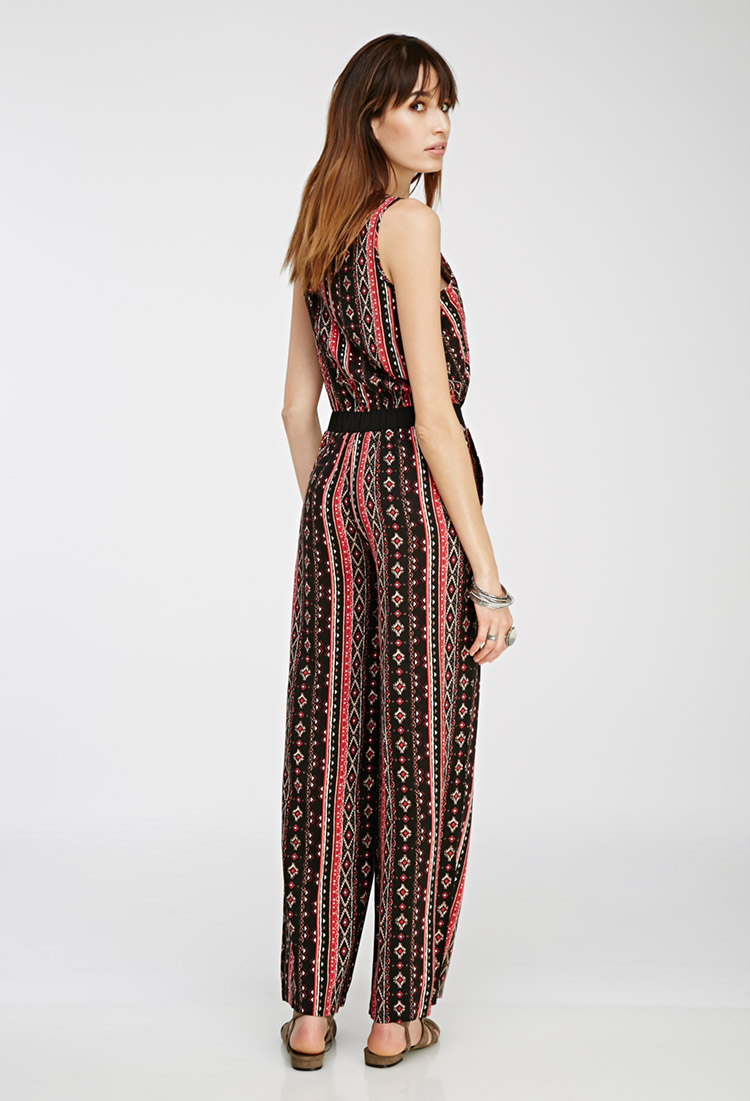 be01bc64a10 Lyst - Forever 21 Print Surplice Jumpsuit in Red