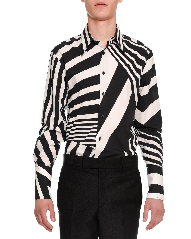 Lyst alexander mcqueen stripe patched button down shirt for Striped button down shirts for men