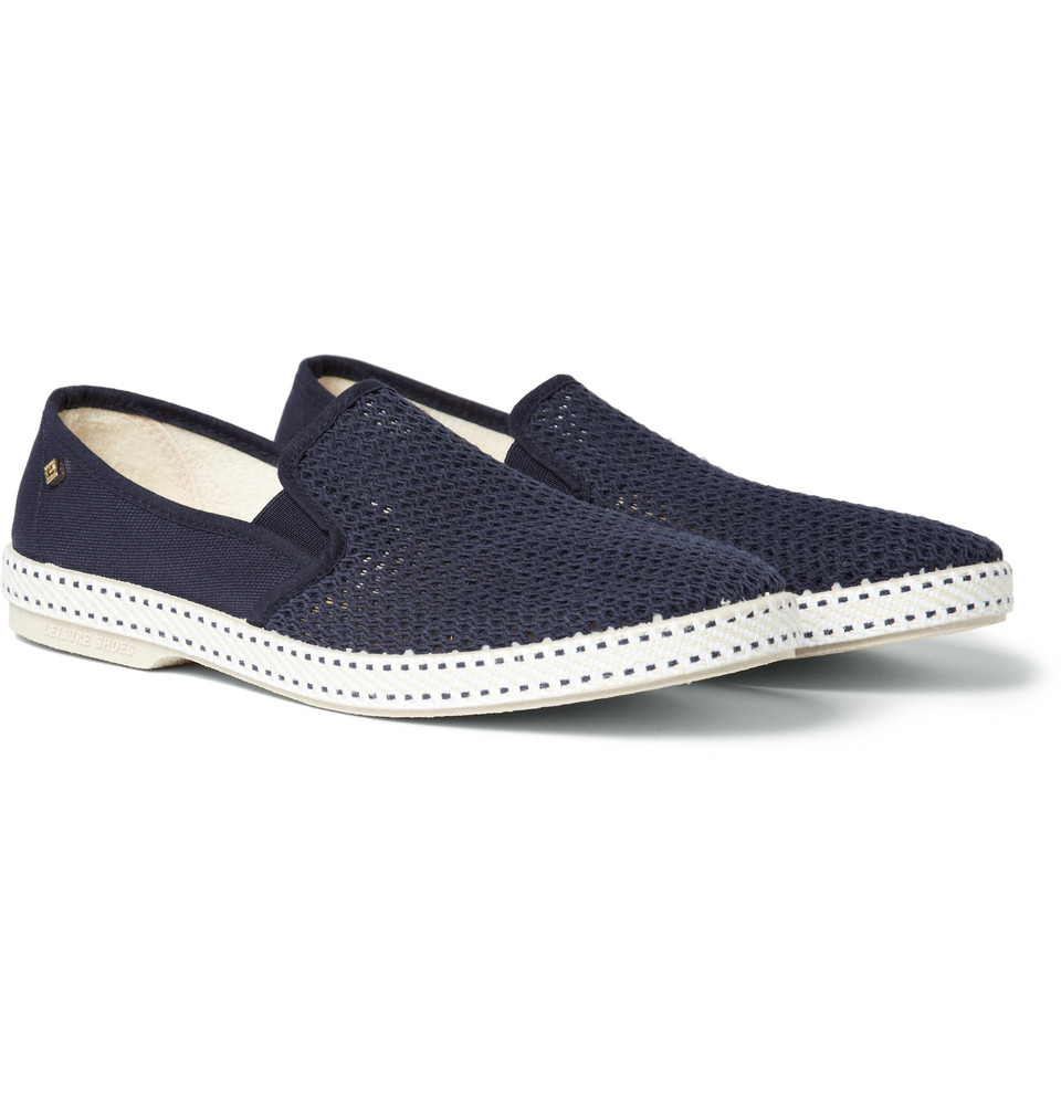 rivieras cotton mesh slip on shoes in blue for lyst