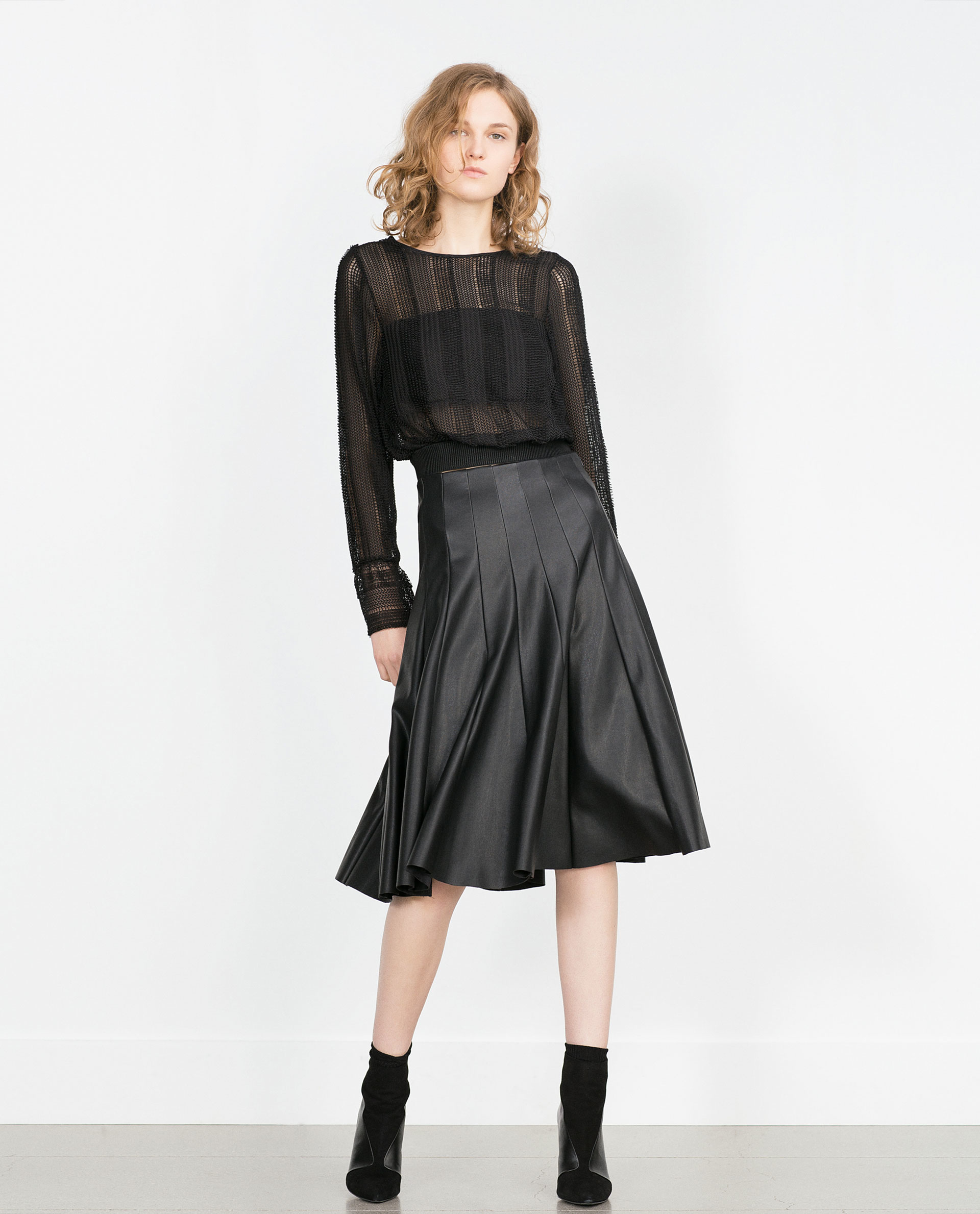 Zara Faux Leather Skirt in Black | Lyst