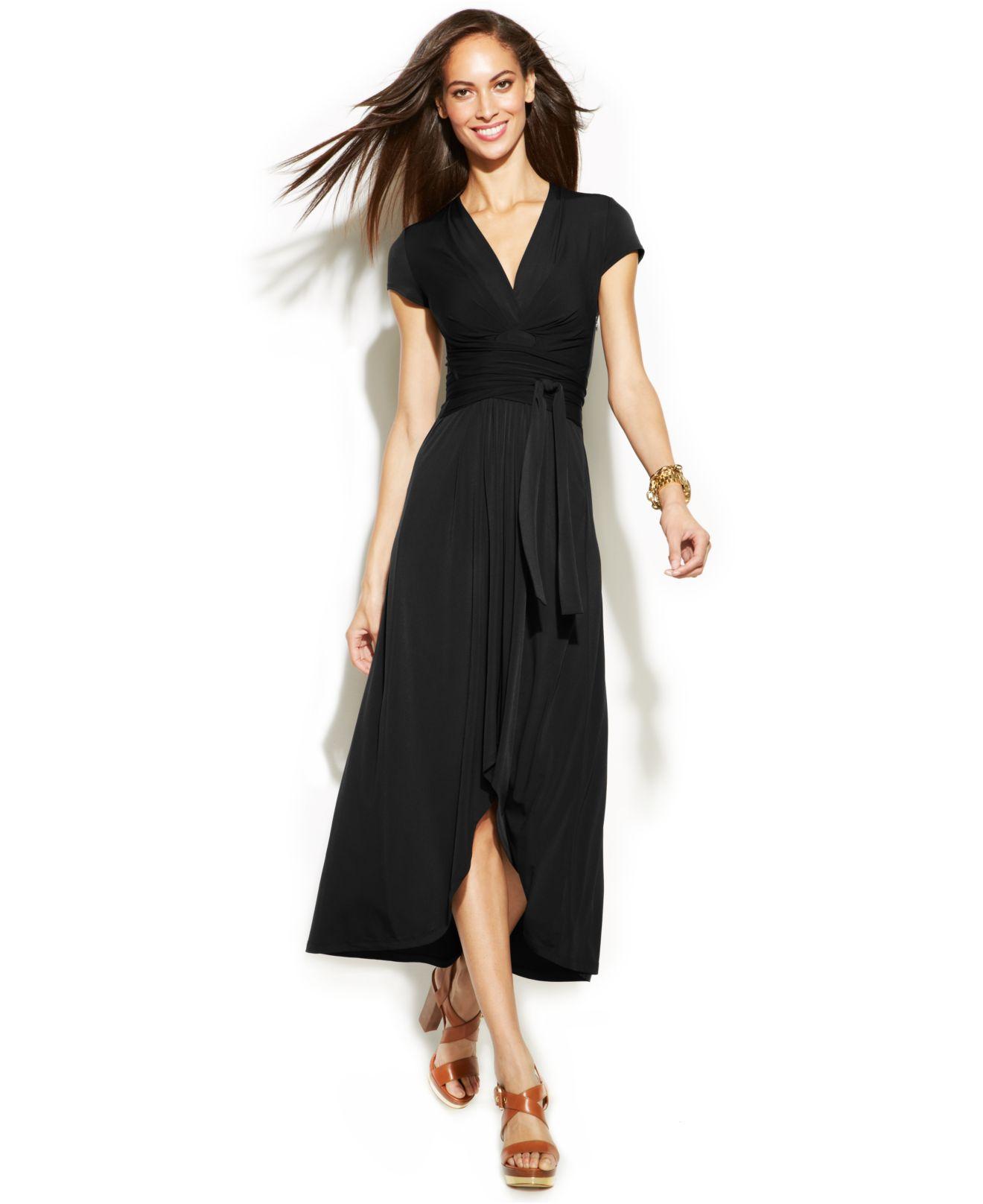 Michael kors Michael High-low Faux-wrap Dress in Black | Lyst