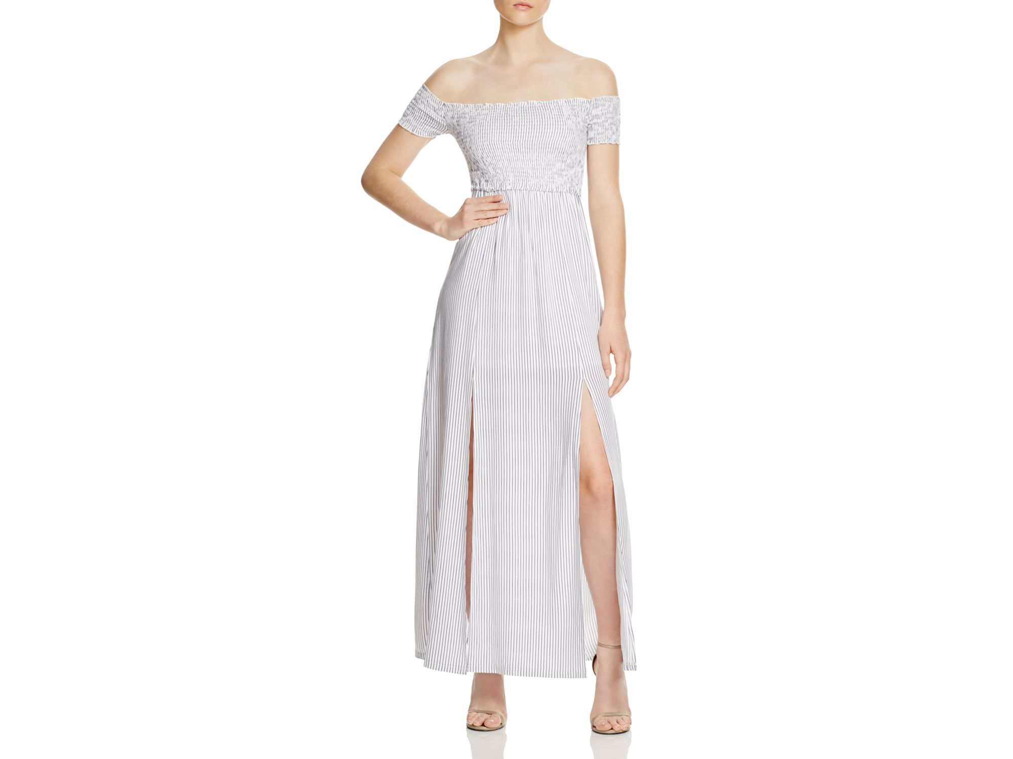 6496f87ee44d Lyst - MINKPINK Striped Off-the-shoulder Dress - Bloomingdale s ...