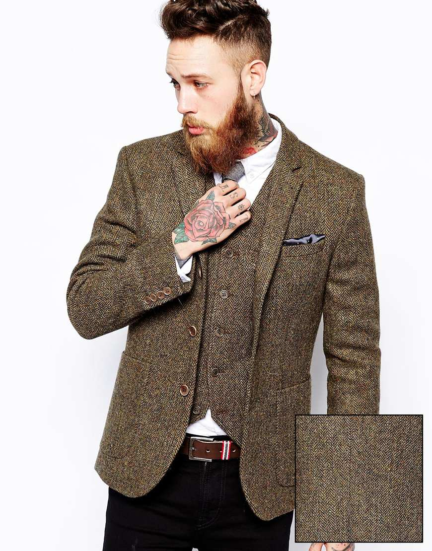 lyst asos slim fit blazer in harris tweed in natural for men. Black Bedroom Furniture Sets. Home Design Ideas