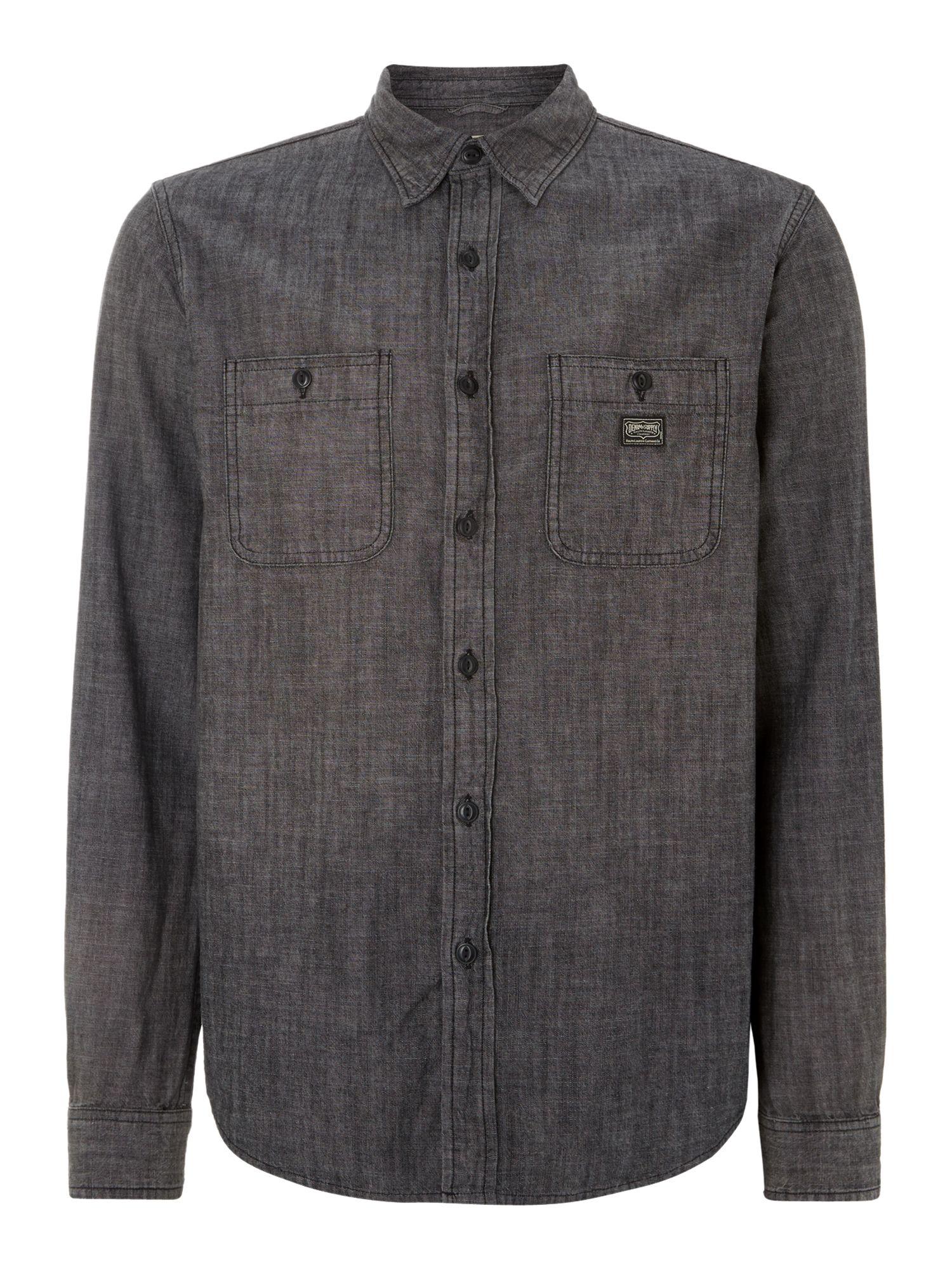 Denim Supply Ralph Lauren Long Sleeve Work Shirt In Gray