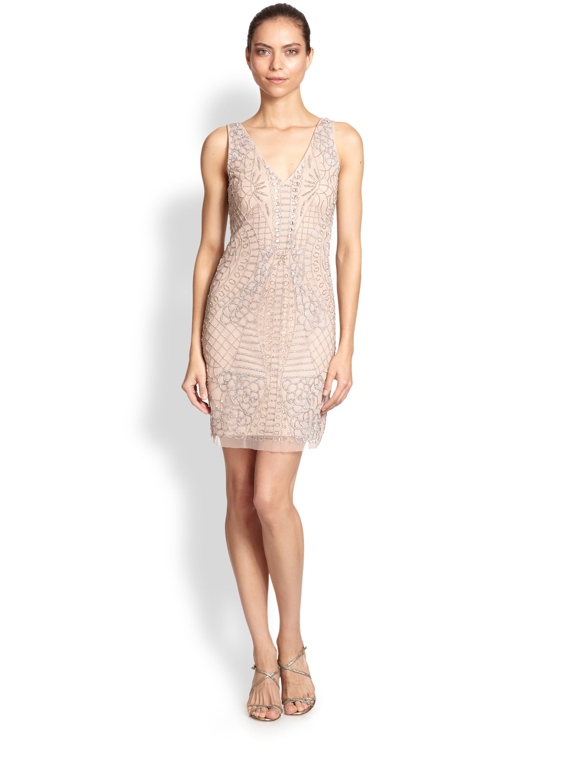 Lyst Aidan Mattox Beaded Mesh Cocktail Dress In Natural
